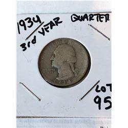 1934 Silver 3rd Year Washington Quarter