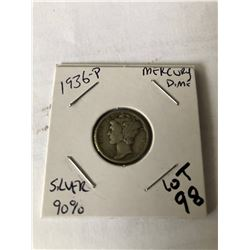 1936 P Silver Mercury Dime Nice Early US Coin
