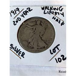 1917 2nd Year Walking Liberty Silver Half Dollar