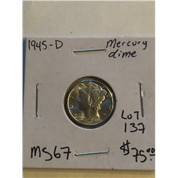 1945 D Rare MS67 High Grade Silver Mercury Dime