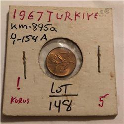 1967 Turkey 5 Kurus in MS High Grade