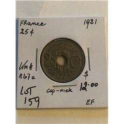1921 France 25 Cents in Extra Fine Grade KM 867A