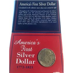1793 Silver Colonial Period 8 Reales in Package remained Legal Tender until 1857 Replica coin