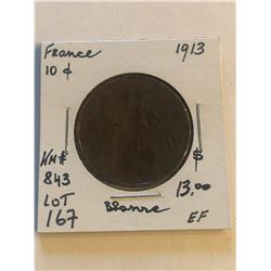 1913 France Large 10 Cents Extra Fine Grade Coin KM 843