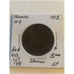 1912 France Large 10 Cents Extra Fine Grade Coin KM 843
