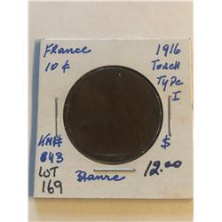 1916 France Large 10 Cents TORCH Type 1 Coin KM 843