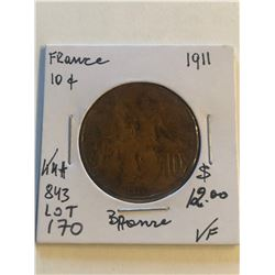 1911 France Large 10 Cents Very Fine Grade Coin KM 843