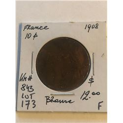 1908 France Large 10 Cents Fine Grade Coin KM 843