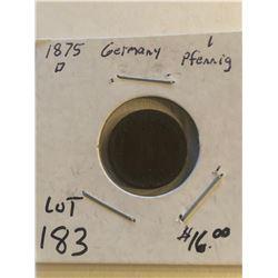 Vintage 1875 D Germany 1 Pfennig Coin