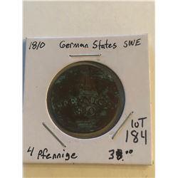 Vintage 1810 German States SWE 4 Pfennig Coin
