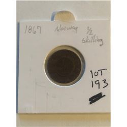 1867 Norway Half Skilling Coin