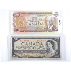 Lot (2) Bank of Canada One Hundred Dollar Notes