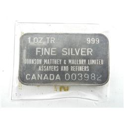 Vintage JM 1oz .9999 Silver Bar, Serialized