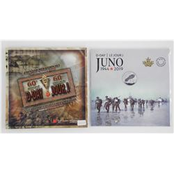 Lot of (2) RCM D-DAY JUNO Gift Coin Folios 2019 -.