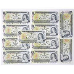 Lot (11) Bank of Canada 1973 1.00 Mixed