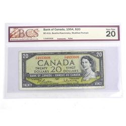 Bank of Canada 1954 Twenty Dollar Note Modified Po