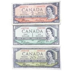 Lot (3) Bank of Canada 1954 Notes - One, Two and T