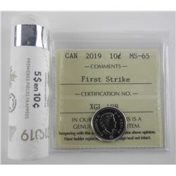 2019 Mint Roll - First Strike Canada 10 Cent Coin