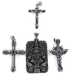 Grouping of (4) Cross and Buddha Stainless Steel P