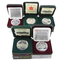 Group of (5) .925 Silver Proof Dollars. 1994, 1997