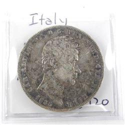 Italy 1835 Silver 5 Lire Coin KM#130.2 (VF)