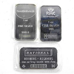 Grouping of (3) .999 Fine Silver 1oz Bars - 3oz Ac