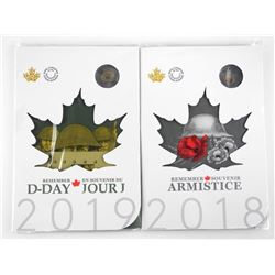Lot (2) 2018-2019 D-Day and Armistice 2.00 Coin Fo