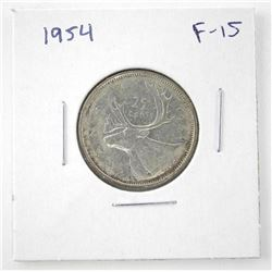 1954 Canada Silver 25 Cent (F-15) (ER)