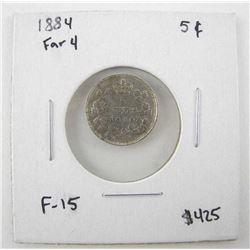 1884 Canada 5 Cents FAR4 F-15