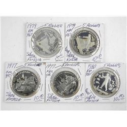 Lot (5) Russia Silver 5 Roubles Coins
