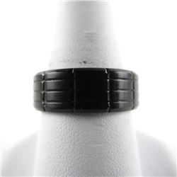 Gents Stainless Steel Black Band Ring. Size 10.