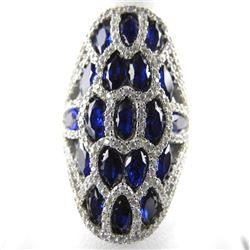 925 Silver Custom Ring Marquise Design Sapphire Bl