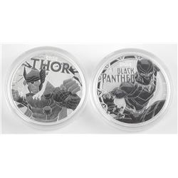 Lot of 2 Marvel Fine Silver Coins. Thor and Black