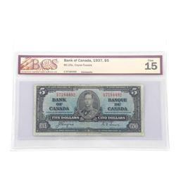 Bank of Canada 1937 Five Dollar G-T BCS F15