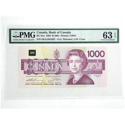 Bank of Canada 1988 One Thousand Dollar Note. Choi
