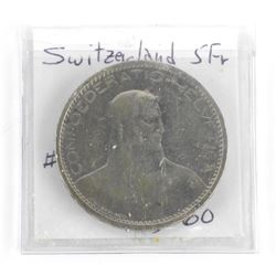 Switzerland 1923B 5 Franc VF+ #37
