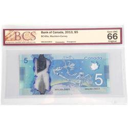 Bank of Canada 2013 Five Dollar Note. Gem UNC 66 O