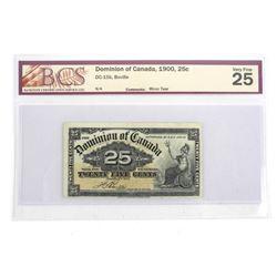 Dominion of Canada 1900, 25c Boville, BCS. VF 25
