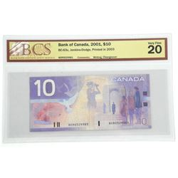 Bank of Canada 2001 $10.00 Printed in 2003 UF20 BC