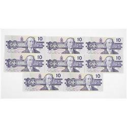 Lot (10) 1989 Bank of Canada Ten Dollar Notes. Cho