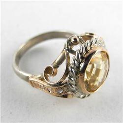 Estate 9kt Gold Ring with Bezel Set round Topaz (5