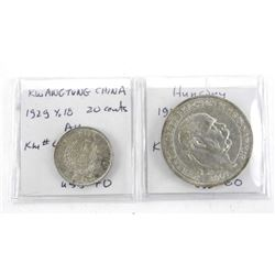 Group of (2) Coins: Hungary 1907 5 Kovina, (XF#) K