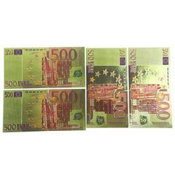 Lot (4) 24kt Gold Leaf 500 Euro Collector Note