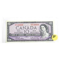 1954 Bank of Canada Ten Dollar Note (MV) (VF+)