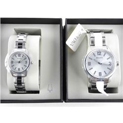 His and Hers Bulova Watch Set - Stainless Steel. B