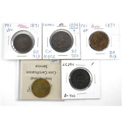 Estate Group of (5) Tokens and Large Cents