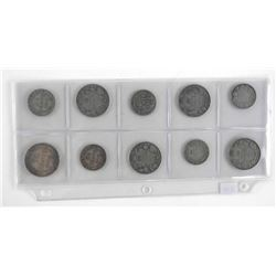 Lot (10) Early Canada Silver Coins