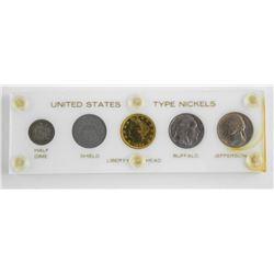 U.S. Type Nickels 5 Variety Cased