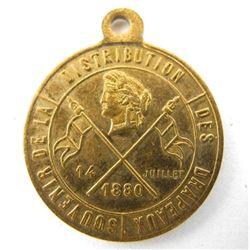 1880 Bastille Day Mint State Medal - Brass
