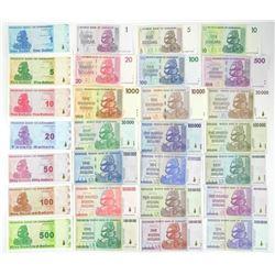 65 Note Set - 100 Trillion Dollars Zimbabwe Collec